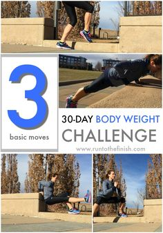 Fitness Motivation : Illustration Description 30 day body weight challenge – 3 basic moves described that you can do anywhere to start making strength workouts part of your exercise routine -Read More – Running Workout Plan, Speed Workout, Track Workout, Strength Workout, Strength Training, Quick Full Body Workout, Quick Workouts, Treadmill Workouts, Body Workouts