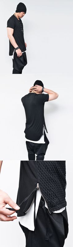 Tops :: Mesh Layer Side Strap Zip Extend Back Round-Tee 516 - Mens Fashion Clothing For An Attractive Guy Look