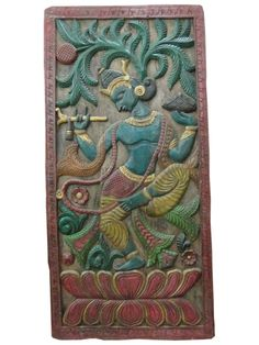 India Decorative Panel Dancing Krishna Hand Carved by MOGULGALLERY
