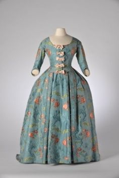 Robe à la francaise, c. 1745. Blue silk taffeta, embroidered with multicoloured…