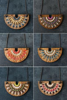 Introducing the SMOCKED Collection - Hand embroidered wood necklace kit by Red Gate Stitchery - Wooden Necklace, Wooden Earrings, Wooden Jewelry, Leather Jewelry, Handmade Jewelry, Textile Jewelry, Fabric Jewelry, Wooden Bag, Laser Cut Jewelry
