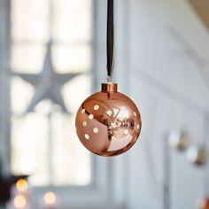 Herstal Batteridrevet Gloria Points LED Glasskule Kobber Christmas Baubles, Christmas 2016, Copper, Bulb, Led, Holiday Decor, Glass, Design, Home Decor