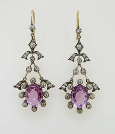 antique amethyst and diamond earrings
