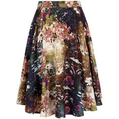 Yumi Sunlight Floral Print Midi Skirt ($56) ❤ liked on Polyvore featuring skirts, clearance, print skirt, high-waisted midi skirts, midi skirt, flower print skirt and calf length skirts
