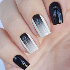10 'Must-Try' Black and White Nails You Have to See! Trendy Nail Art, Stylish Nails, Black Nail Designs, Nail Art Designs, Nails Design, Design Art, Black Nails, Pink Nails, Manicure E Pedicure