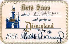 Vintage 1956 Gold pass Disneyland