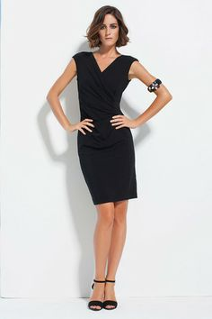 Maria Grazia Severi Form fitting dress ribbed metal available in Black and Turquoise
