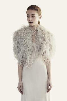 Santorini Feather Wrap Platinum PRE-ORDER - Jenny Packham