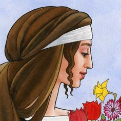 The Four Seasons II  Spring. Goddess art watercolor by jonathanday, $120.00