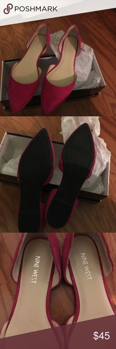 Nine west stardust flats hot pink New hot pink flats worn twice  that i have to sell my foot is too wide in the front ! Love this shoes not for wide feet Nine West Shoes Espadrilles