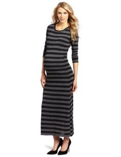 97ba000aebf6b Everly Grey Women's Maternity Genevieve Maxi Sweater Dress, Charcoal  Stripe, X-Small at Amazon Women's Clothing store: Long Sleeve Knit Maxi  Dress