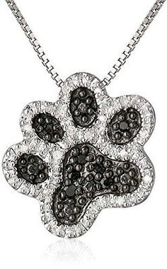"Dog Paw Pendant Necklace Sterling Black White Diamond 18"" Gift Jewelry Jewellery"