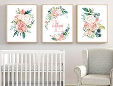 Nursery Prints, Nursery Art, Girl Nursery, Black And Gold Marble, Thing 1, Green Flowers, Wall Art Sets, Artist Canvas, Flower Wall