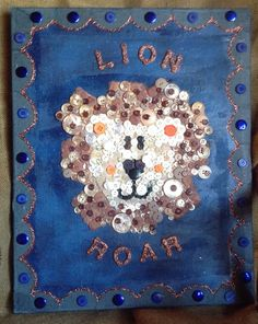 Lion  Button art lion roar brown tan black by ButtonBlessings, $60.00