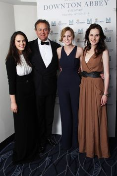 The Rt Hon The Earl of Grantham, Robert Crawley, played by Hugh Bonneville with daughters: Lady Sybil, Lady Edith, and Lady Mary
