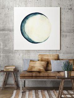 Mond Phasen Aquarell Blau Wand-Dekor abstrakte Vollmond