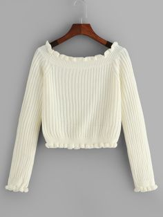 To find out about the Solid Frill Trim Sweater at SHEIN, part of our latest Sweaters ready to shop online today! Cute Sweaters For Fall, Sweaters For Women, Fashion News, Fashion Outfits, Beige Style, Cute Shirts, Sweater Weather, Ideias Fashion, Knitwear