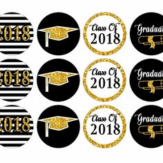 Graduation season is around the corner. Celebrate the graduating class of 2018 with these beautiful black and gold graduation cupcake toppers. Matching coordinates available. Shop now!