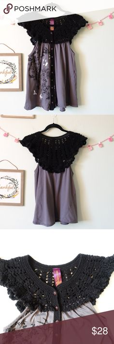 """Free People Tunic Tank Top crochet Birds Size L Free People Tunic Tank Top BOHO crochet Birds Black Silver Gray Size L. Button down, Came with one extra replacement button. Color Black/Grey. Good condition, no holes or stain. Material: bodice 100% acrylic. body 100% cotton. Measurement laying flat approx: bust 17"""", length 25"""". Free People Tops Blouses"""