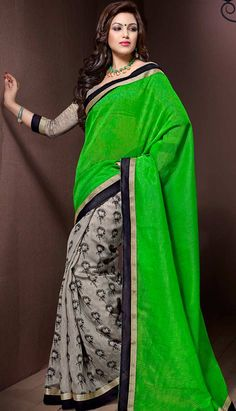 Usa People, Only Online, Casual Saree, Ethnic Dress, Printed Sarees, Green Cotton, Indian Ethnic, Green Colors, Dresses Online