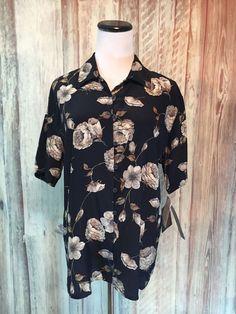 Jones New York Stonewashed Silk Camp Shirt Blouse Floral Black Button $98 10 NWT #JonesNewYork #CampShirt