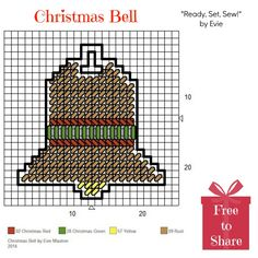 """Plastic Canvas: Christmas Bell -- a FREE pattern from """"Ready, Set, Sew!"""" by Evie. . .♥Happy Holidays!♥"""