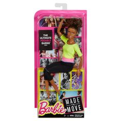 2016 Barbie Made To Move Doll - AA Brunette Bun - 22 joints for flexibility - Made to Move™ for Endless Moves
