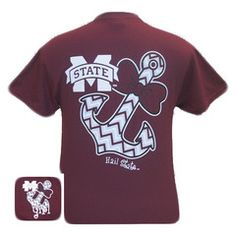 MSU Mississippi State Bulldogs Chevron Anchor Bow Girlie Bright T Shir   SimplyCuteTees