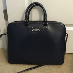 Kate Spade navy laptop bag Great leather navy laptop bag! Used a few times in college. kate spade Bags Laptop Bags