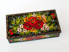 Hand painted wooden box with floral motif