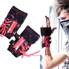 Black and Red Bat Fingerless Punk Emo Gloves Accessories Men Women SKU-71102044