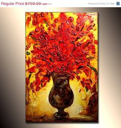 Abstract Art Original Flower Painting Thick by newwaveartgallery, $560.00