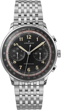 Junghans Meister Telemeter Watch Is Going For Distance! And Going For Speed! Fine Watches, Cool Watches, Watches For Men, Men's Watches, Stainless Steel Watch, Stainless Steel Bracelet, Herren Chronograph, Junghans, Aesthetic Value