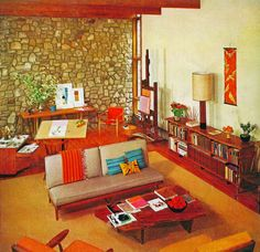 """1967 Living Room – I love the """"studio"""" corner with the drafting table & easle!"""