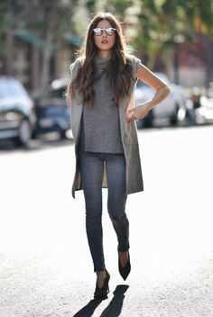 spring outfit, fall outfit, all grey outfit, casual outfit - grey long vest, grey sleeveless coat, grey turtleneck tunic, grey jeans, grey booties, mirror sunglasses