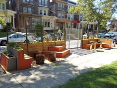 Parking space transformed into a park for PARK(ing) Day.