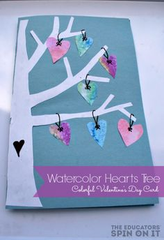 Watercolor Hearts Card by Kim from The Educators' Spin On It at Red Ted Art