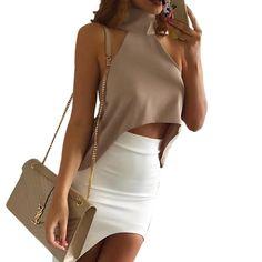 Women Sexy High Neck Halter Off Shoulder Choker Neck Asymmetrical Crop Top Girls Party Belly Tank Tops Size S-XL 2016 New