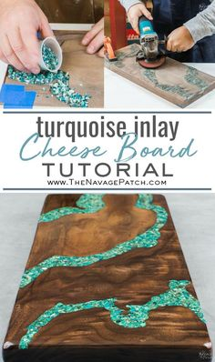In this tutorial, I will show you how to make a cheese board with turquoise inlay. I'll also teach you how to make your own crushed turquoise from raw ore. Projects How to Make a Cheese Board with Turquoise Inlay - The Navage Patch Diy Resin Art, Diy Resin Crafts, Diy And Crafts, Wood Crafts, Easy Crafts, Pot Mason Diy, Mason Jar Crafts, Wie Macht Man, Diy Patches