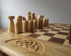 Juego de ajedrez hecho a mano con tablero pesado por thatfamilyshop