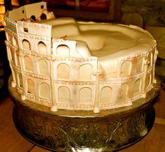 Colosseum - A very BIG cake... all covered with fondant. Chocolate cake and Lemon mascarpone cake.
