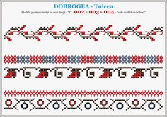 Semne Cusute: din DOBROGEA Cross Stitch Geometric, Cross Stitch Borders, Cross Stitch Patterns, Folk Embroidery, Embroidery Stitches, Embroidery Patterns, Borders And Frames, Textile Design, Beading Patterns