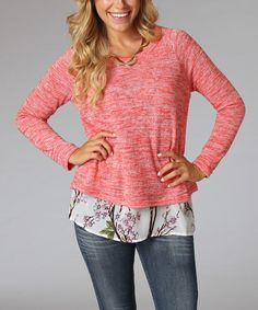 Another great find on #zulily! Coral Floral Overlay Sweater by Pinkblush #zulilyfinds