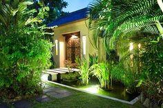 bali style home entrance | Villa Entrance at Night - Bali