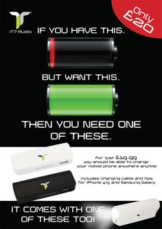 For just £19.99  you should be able to charge  your mobile phone anywhere anytime.http://www.uberphunk.com/1353-power/portable-charger-with-built-in-tourch.html