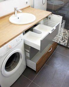 waschmaschine im badezimmer waschraum kombination # zu washing machine in the bathroom washroom combination # too furniture # furniture # Small Laundry Rooms, Laundry Room Design, Laundry In Bathroom, Bathroom Design Small, Bathroom Layout, Bathroom Shelves, Bathroom Storage, Bathroom Interior, Laundry Storage