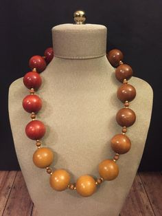 Natural Wood Bead Necklace 1970's Chunky Large by mytimevintage