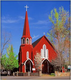 St. James Anglican Church, also known as the Red Church, was built in 1860 in Sonora, California during the post-Gold Rush era. Its eight-sided steeple is an example of the Swedish architectural style. known as the oldest Episcopal Church Building in California