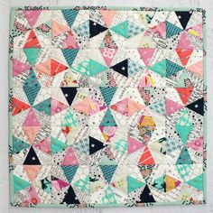 Kaleidescope Foundation Paper Pieced Cushion or Mini Quilt PDF - Tied with A Ribbon