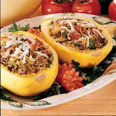 stuffed spaghetti squash. Made this tonight but went really simple with just onions, mushrooms, garlic and cheese...then put spaghetti sauce on top...AMAZING.